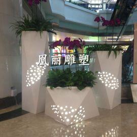 廠家定制 玻璃鋼酒店花盆白色組合 透光菱形創意花盆