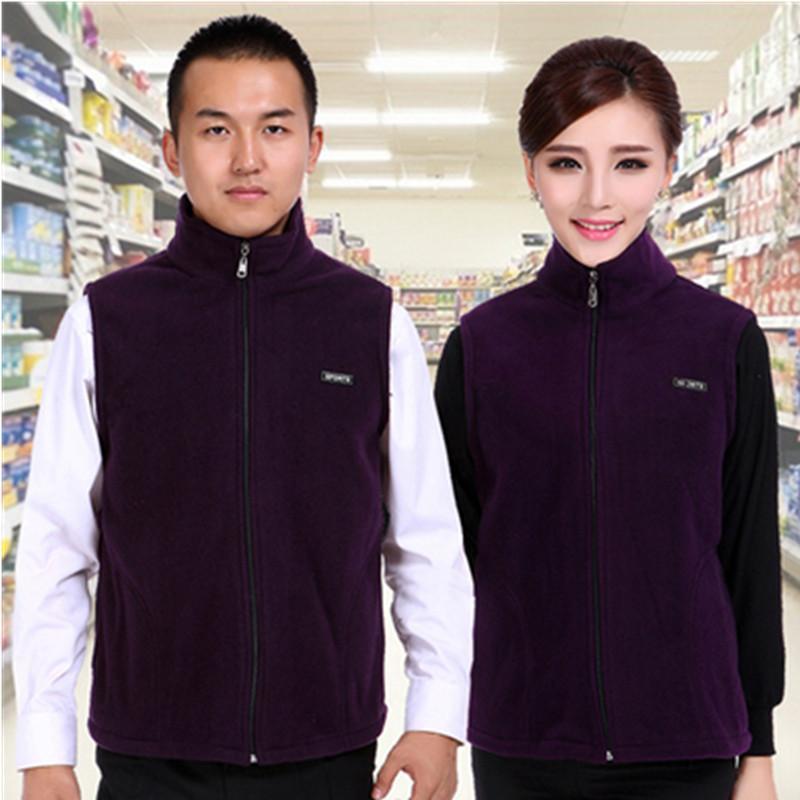 工作服抓絨馬甲定製印刷logo秋冬厚搖粒絨馬夾超市商場廣告活動衫