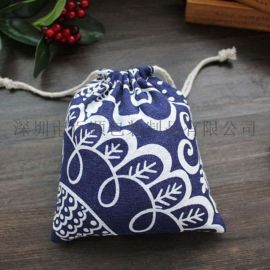 厂家直销 创意家居简约便携旅行束口袋 小清新棉布抽绳收纳袋 防尘袋子