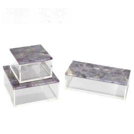 紫水晶钢琴烤漆亚克力首饰盒简约收纳盒软装饰品样板间饰品摆件