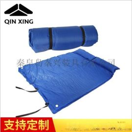蓝色双人防潮垫 户外自动充气垫 防潮垫野餐垫 野营防水防潮垫