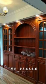 长沙原木整屋订做促销、原木书柜、博古架定制合理布局