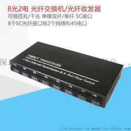 全新模块百兆单模单纤8光2电 BIDI光纤收发器