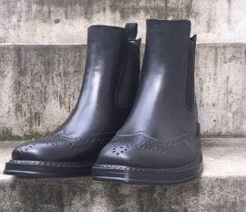 农源NY0020男士松紧复古英伦雕花时尚雨鞋低帮雨靴 欧美日韩黑色休闲马丁靴雨鞋