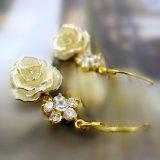 黛雅真玫瑰系列花漾饰品镀白金玫瑰永生花耳环(款式二) 厂家批发