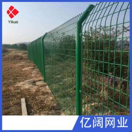 厂家直销低碳钢丝公路边框护栏网浸塑框架铁丝网铁路道路防护围栏