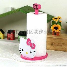 厂家供应hello kitty木质收纳盒 立式卷纸架猫头厨房收纳盒