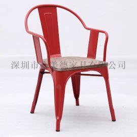 夏季奶茶店餐桌椅批发|工业风椅子|铁皮椅定做众美德