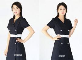 美容院**美容师工作服连衣裙夏季短袖美容服韩版修身时尚美容服