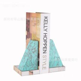 綠色鬆石水晶底座桌面立書檔北歐復古創意裝飾品書立書靠樣板擺件