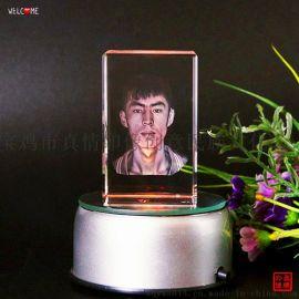 3d水晶内雕摆件定制照片创意相片摆台制作diy发光装饰品生日礼品
