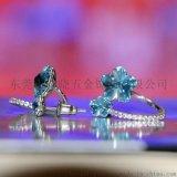 东莞俏点 花朵蓝水晶耳钉 韩版时尚可爱满钻花朵耳饰  厂家可定制