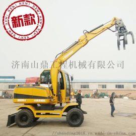 新疆抓棉花用的小型轮式抓木机 轮式挖掘机厂家