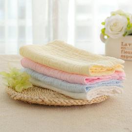 6层纯色口水巾 水洗泡泡纱方巾 可爱纱布手帕