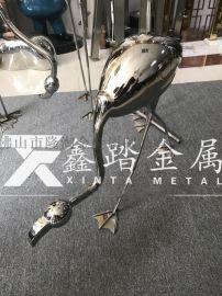 广州园林绿地装饰镜面不锈钢火烈鸟雕塑摆件栩栩如生