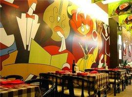 餐厅墙绘酒吧墙绘人物装饰酒杯
