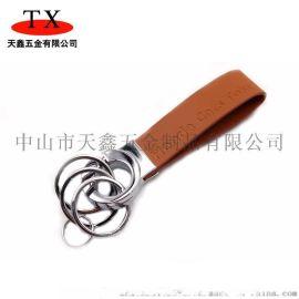 创意金属汽车礼品钥匙扣 真皮压印logo锁匙扣
