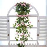 仿真蔷薇花 藤条壁挂假花藤客厅吊兰假花装饰吊顶塑料花藤蔓批发