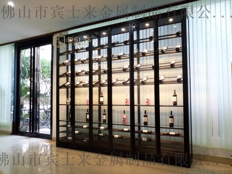 LED燈光酒櫃武漢酒莊不鏽鋼酒櫃洋酒架設計廠家