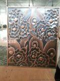 大紅花鋁板立體浮雕製作 水鍍仿古銅做舊浮雕壁畫