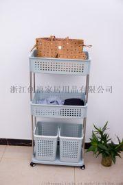 卫浴脏衣篓洗衣篮三层四格衣物收纳框多功能移动置物架