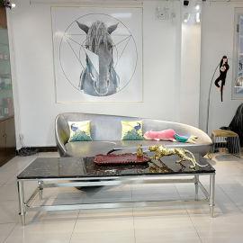 304不锈钢大理石餐桌电视柜茶几配套装组合客厅定制