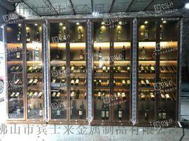 酒窖酒莊不鏽鋼酒櫃定制玻璃酒櫃燈光不鏽鋼酒櫃定制