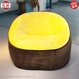 布艺皮革休闲椅单人沙发 简约现代定制