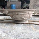 人造砂岩圆雕花盆容器|仿砂岩花钵雕塑摆件