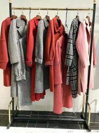 新款糖果色羊绒双面尼长款品牌女装折扣广州尾货市场