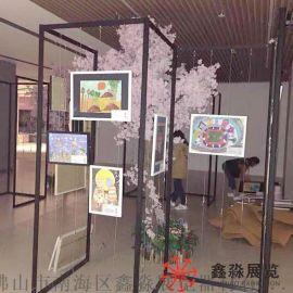 铝合金折叠挂画展架 折叠书画展板展示架