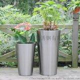 金属方形简约花盆不锈钢盆栽绿植摆件镀金色花盆
