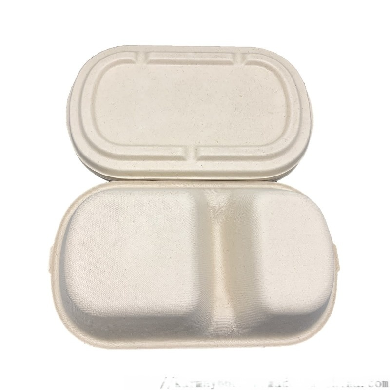 850ml 2格纸餐盒一次性可降解纸餐盒
