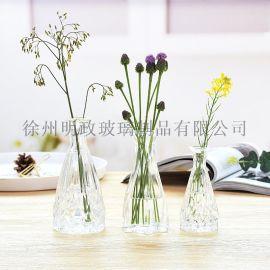 小口花瓶玻璃花瓶莲花瓶办公桌花瓶简美花瓶创意花瓶