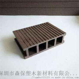 140*40户外长条塑木方孔地板园林栈道咖啡厅防腐防潮承重强生态木