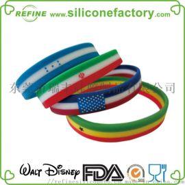 厂家定制 硅胶3色手环,硅胶促销礼品