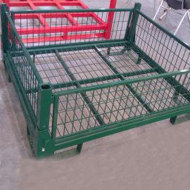 带盖可折叠可堆垛全封闭铁周转箱折叠式金属仓储笼