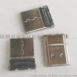 HDMI 19P沉板  反向90度双排A型高清头