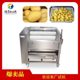 芋头土豆去皮清洗机 不锈钢毛刷清洗机厂家
