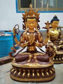 铸铜四臂观音菩萨佛像纯铜藏佛工艺品