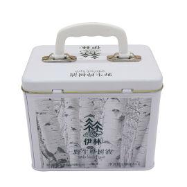 业士定制logo口服液包装方形手提铁罐子