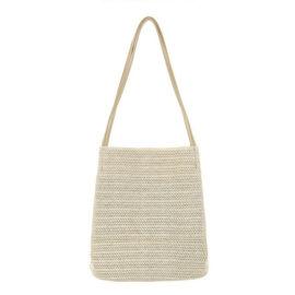 新款韓國同款休閒編織單肩草編包百搭水桶包手提女包
