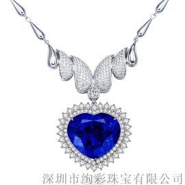 豪华海洋之心坦桑石项链心形吊坠18K白金镶钻坦桑蓝