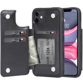 背面插卡手机皮套 多功能防摔PU手机保护套 厂家定制