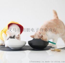 貓新品胖胖貓碗陶瓷双碗装粮装水斜口护脊