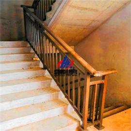 灰色锌钢楼梯扶手 焊接楼梯栏杆 组装式咖色楼梯护栏