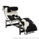 天然奶牛皮LC4柯布西耶休闲躺椅不锈钢经典**设计