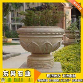 厂家直销石雕花盆 石雕花钵 锈石中式石花盆