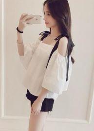 夏季女装批發韩版新款学生时尚宽松性感蝴蝶结喇叭袖露肩吊带T恤