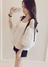 夏季女裝批發韓版新款學生時尚寬鬆性感蝴蝶結喇叭袖露肩吊帶T恤